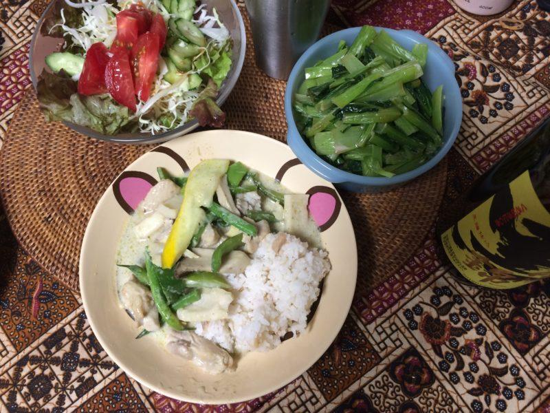 ご飯食べちゃう糖質制限やってみた グリーンカレー エノキ白滝タイ米