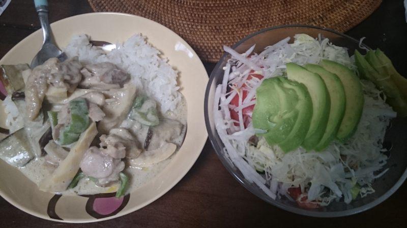 お米を食べる糖質制限やってみた グリーンカレー アボカド大根キャベツサラダ