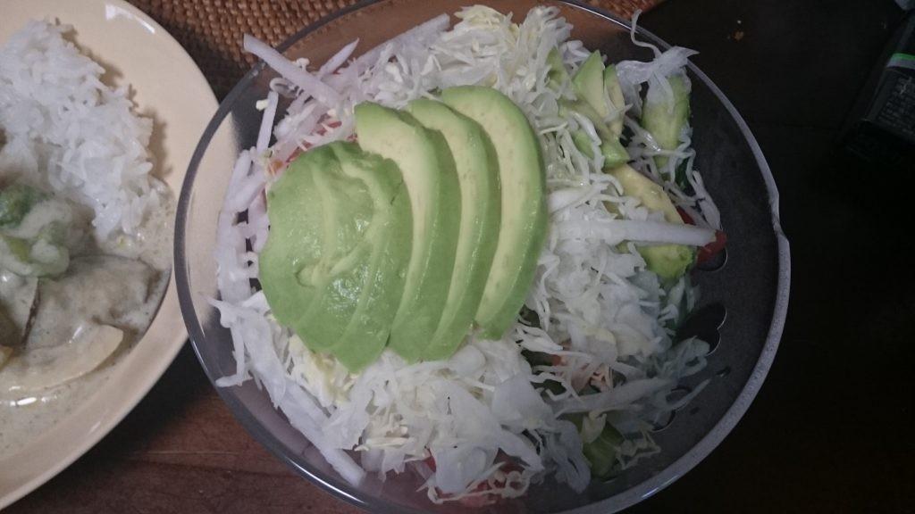 お米食べる糖質制限やってみた アボカド キャベツ 大根 サラダ