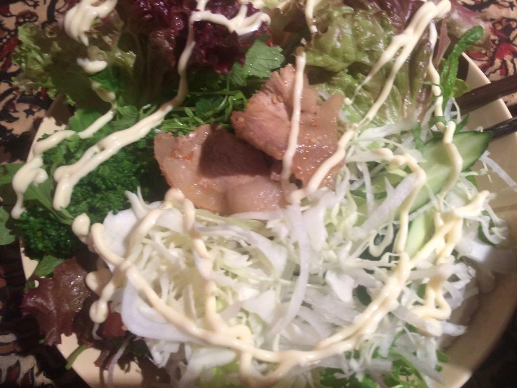 お米食べちゃう糖質制限やってみた 豚のしょうが焼きサラダ丼