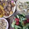 17日目豚ハラミズッキーニ炒め トマトキュウリサラダ チャーハン 野菜炒め お米