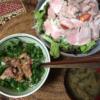23日目きくらげ白滝ご飯でマグロ丼 茹で豚サラダ お味噌汁 糖質制限でも米を食う
