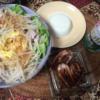 22日目糖質0g麺で冷やし中華 イカゲソ 冷奴 焼き鳥屋さん 糖質制限ダイエット