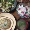 16日目チャーハン キャベツ挽肉炒め エビ玉スープ 玉ねぎキャベツサラダ お米食