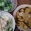 9日目糖質カットカレー 白滝飯 サラダ 小松菜 米を食うダイエットやってみた