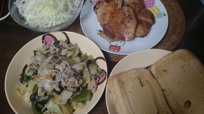 35日目焼きこんにゃく麺 トンテキ 大豆粉パンもどき 糖質制限ダイエットやってみ
