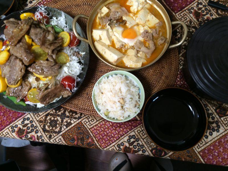 19日目焼肉サラダ スンドゥブ 枝豆しらたき大豆ご飯 米を食う糖質制限ダイエット