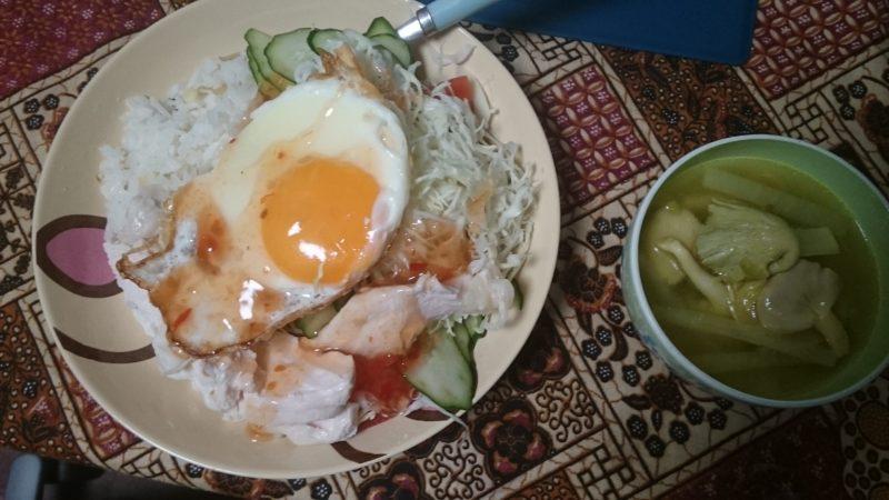 3日目カオマンガイ風チキンライス、ソトアヤム風スープ、うどん、サラダ牛丼。ダイエ