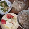24日目冷しゃぶ丼塩イカ大根 塩豆腐トマト ドゥワンチャンタイ料理 糖質制限中で