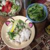 8日目グリーンカレーえのきしらたきタイ米 小松菜 焼酎 サラダ ダイエットやって